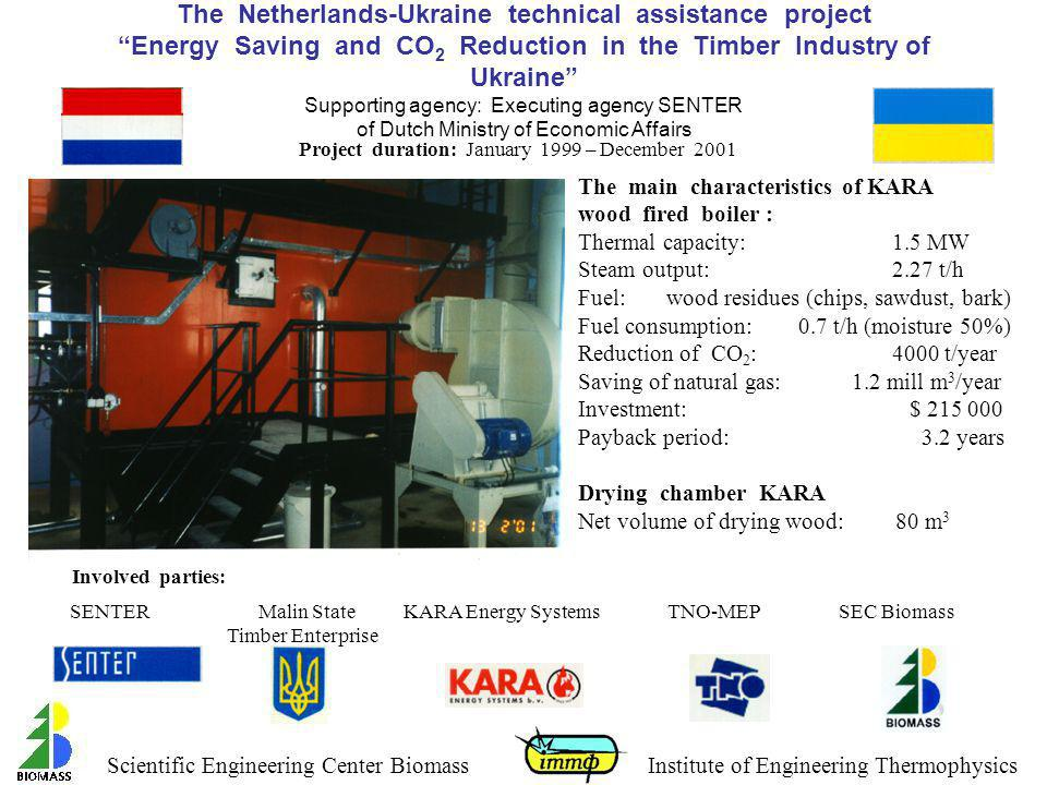 The Netherlands-Ukraine technical assistance project Energy Saving and CO2 Reduction in the Timber Industry of Ukraine Supporting agency: Executing agency SENTER of Dutch Ministry of Economic Affairs