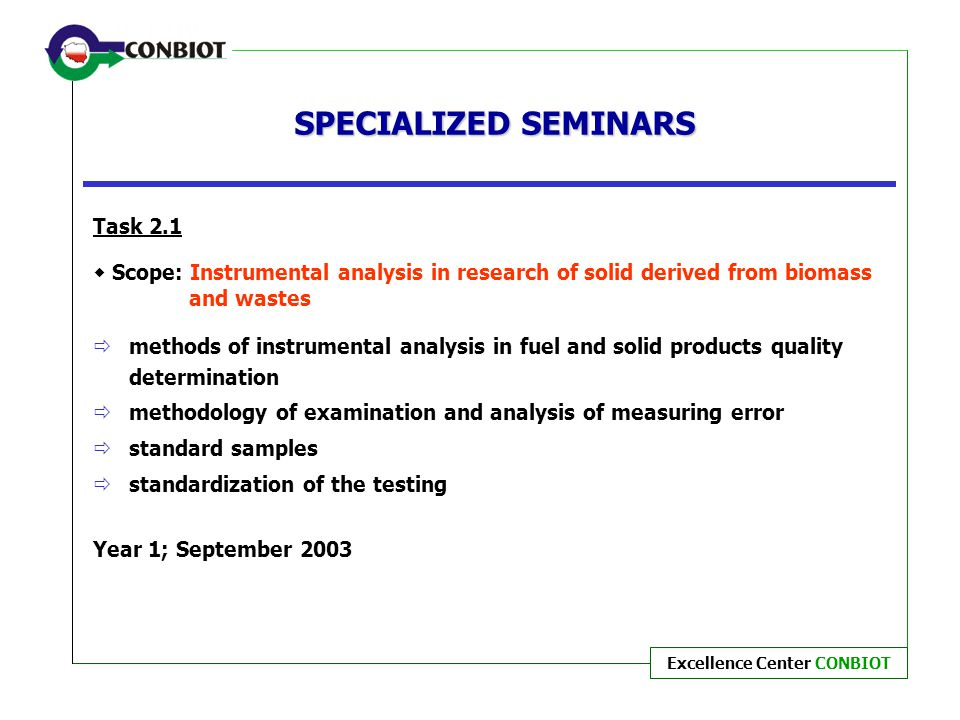 SPECIALIZED SEMINARS Task 2.1