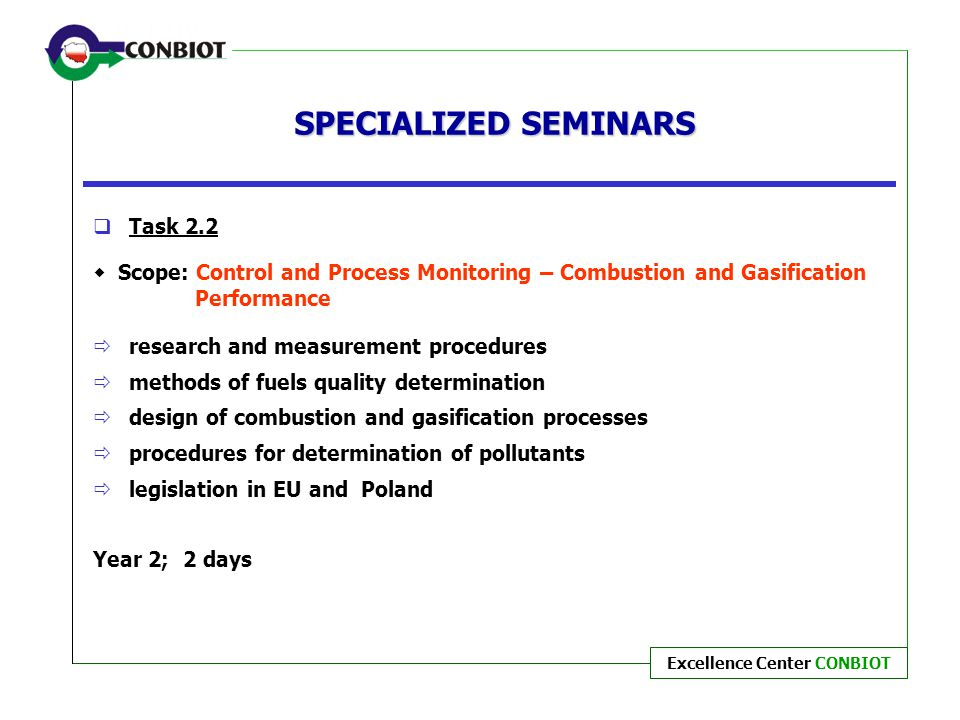 SPECIALIZED SEMINARS Task 2.2