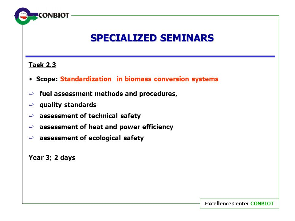 SPECIALIZED SEMINARS Task 2.3