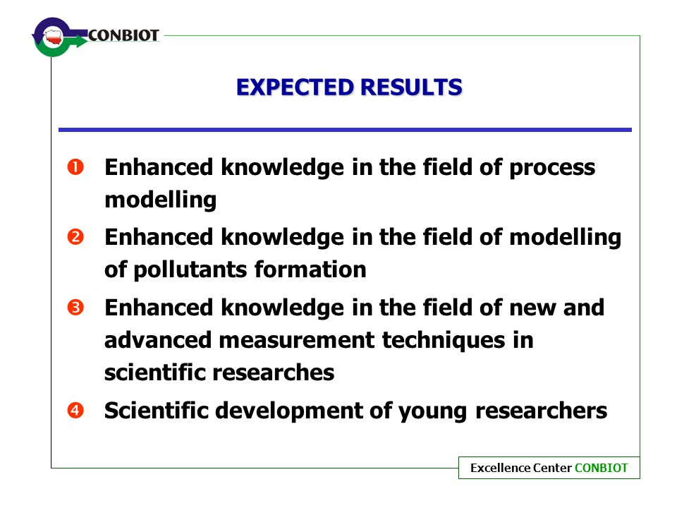 EXPECTED RESULTS Enhanced knowledge in the field of process modelling. Enhanced knowledge in the field of modelling of pollutants formation.