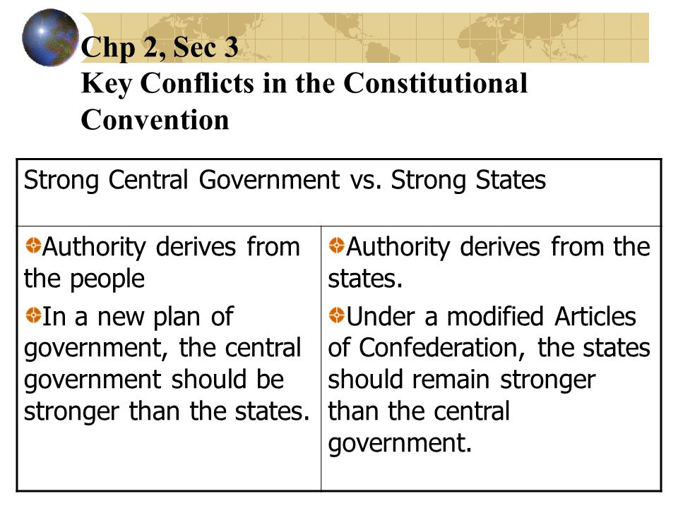 Chp 2, Sec 3 Key Conflicts in the Constitutional Convention