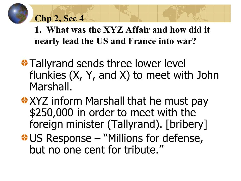US Response – Millions for defense, but no one cent for tribute.