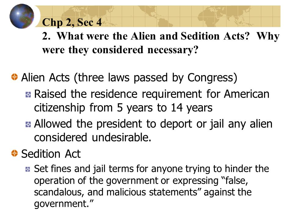 Alien Acts (three laws passed by Congress)