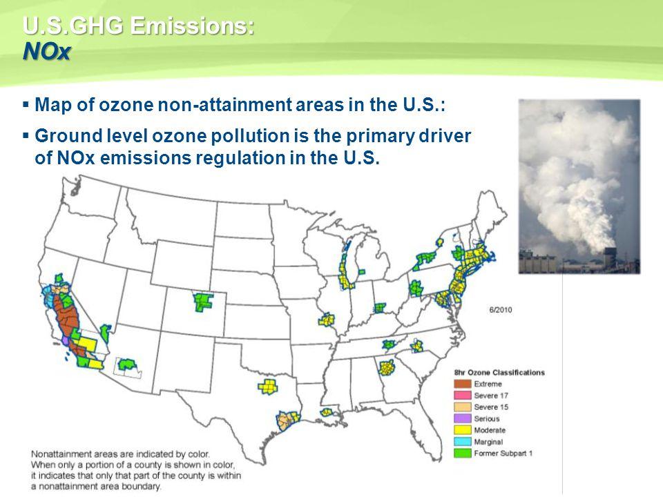 U.S.GHG Emissions: NOx Map of ozone non-attainment areas in the U.S.: