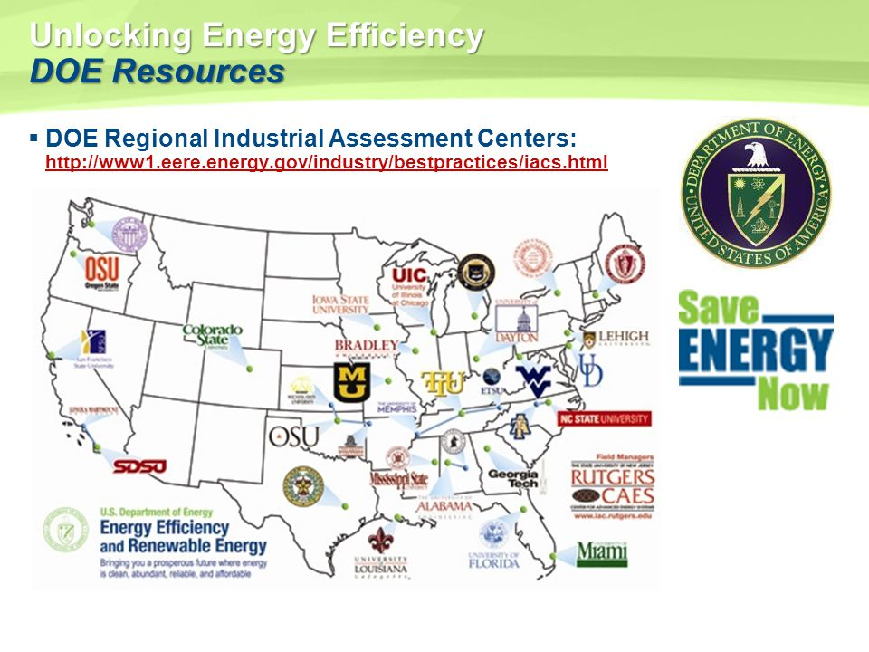 Unlocking Energy Efficiency DOE Resources