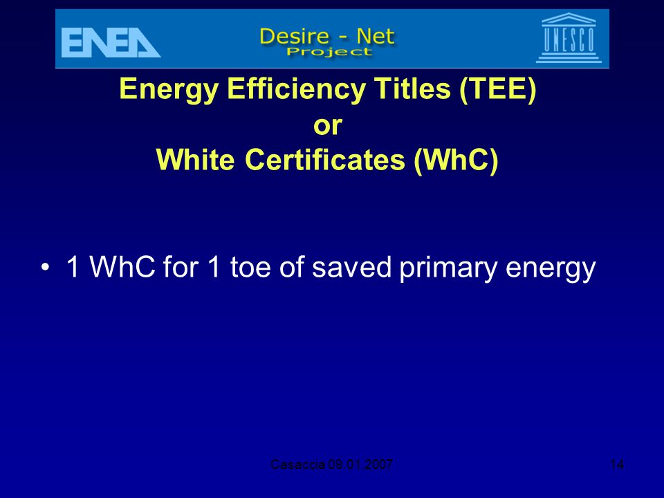Energy Efficiency Titles (TEE) or White Certificates (WhC)