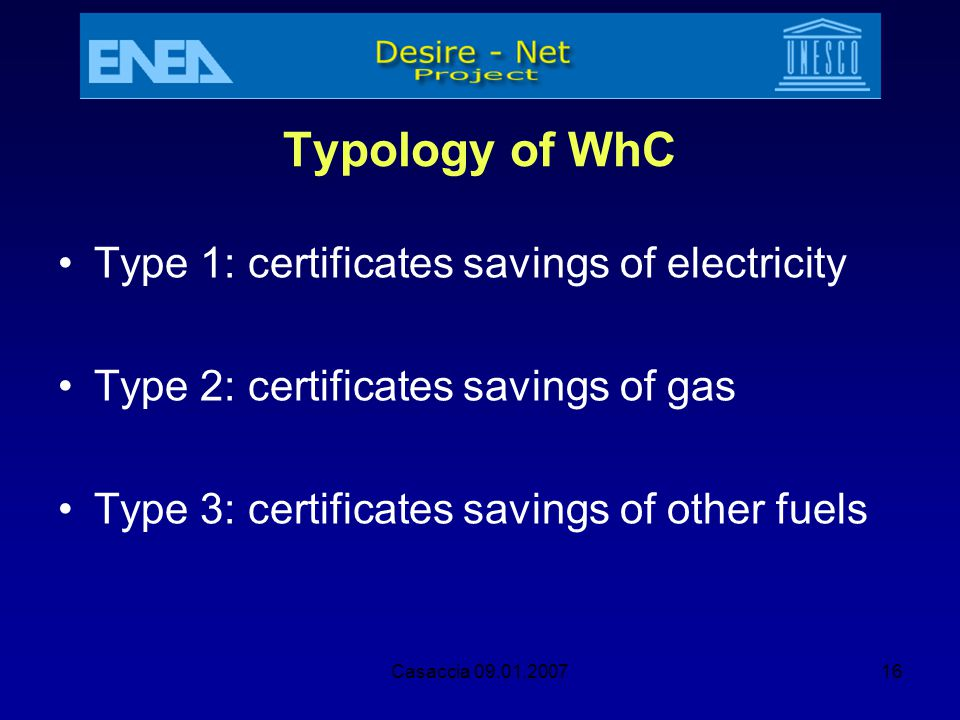 Typology of WhC Type 1: certificates savings of electricity