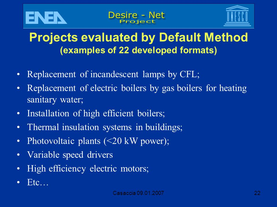 Projects evaluated by Default Method (examples of 22 developed formats)