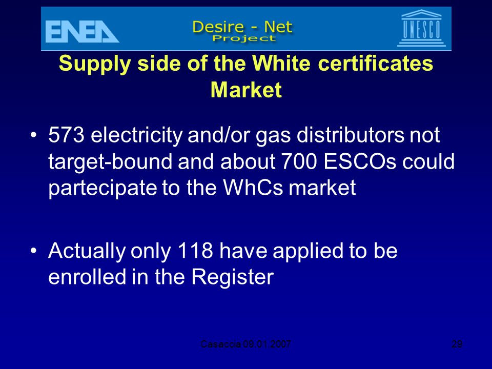 Supply side of the White certificates Market