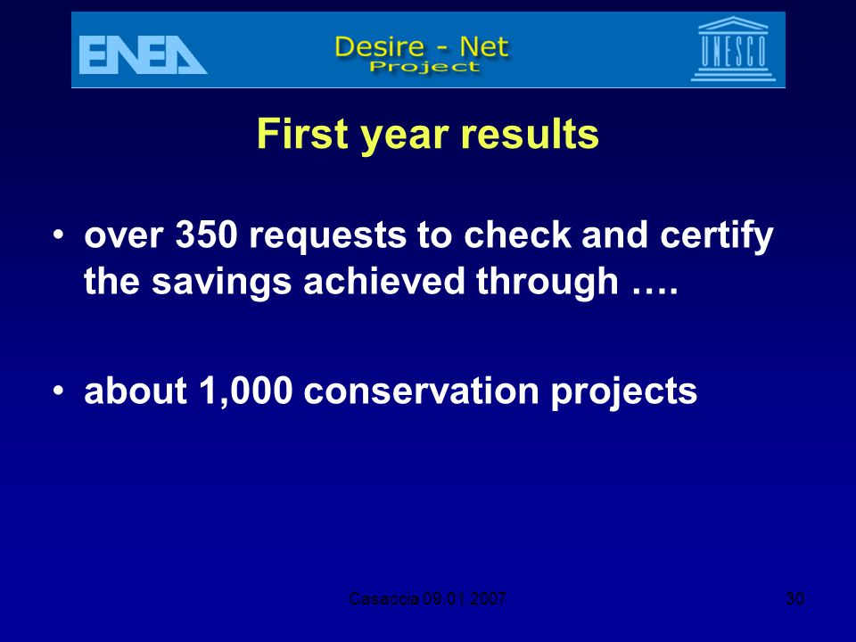 First year results over 350 requests to check and certify the savings achieved through …. about 1,000 conservation projects.