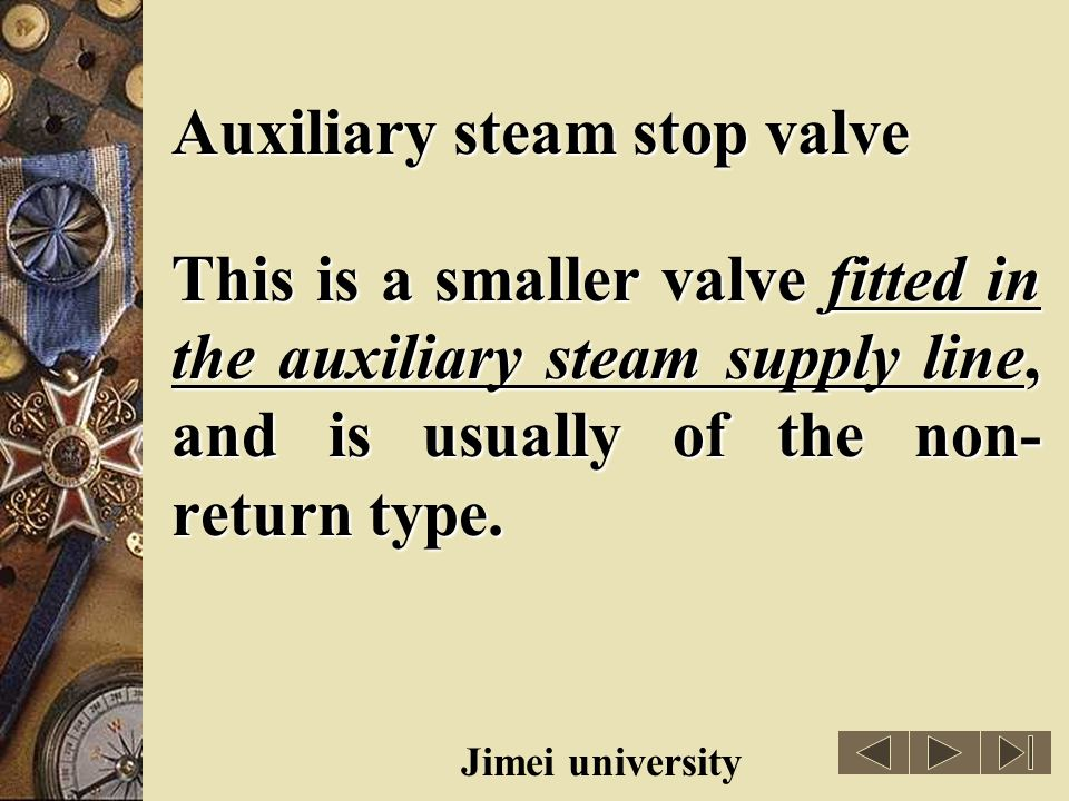 Auxiliary steam stop valve