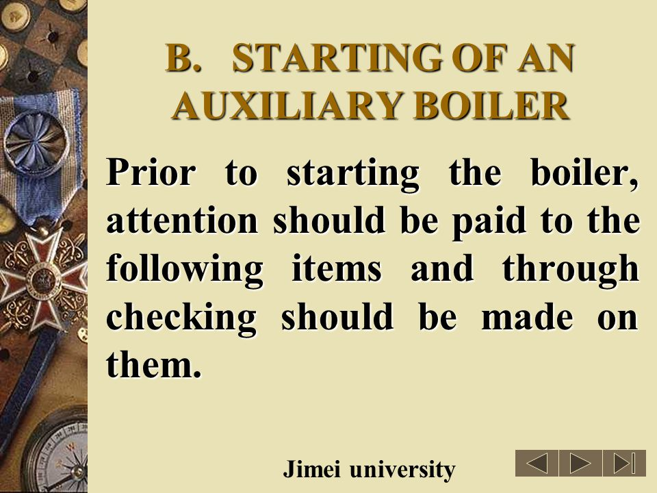 B. STARTING OF AN AUXILIARY BOILER