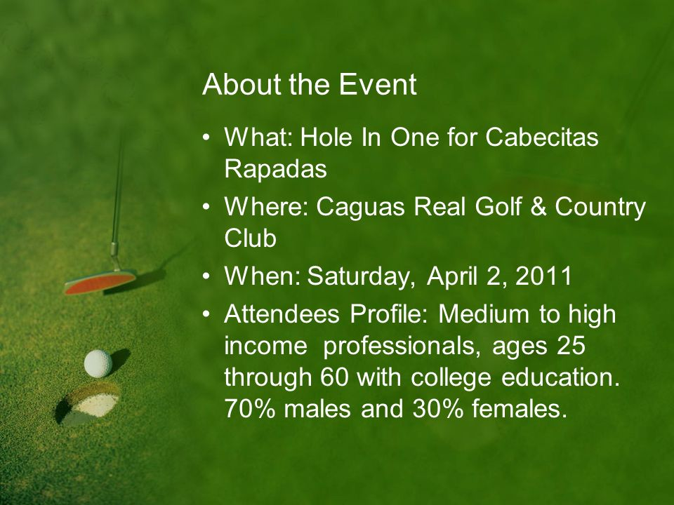 About the Event What: Hole In One for Cabecitas Rapadas