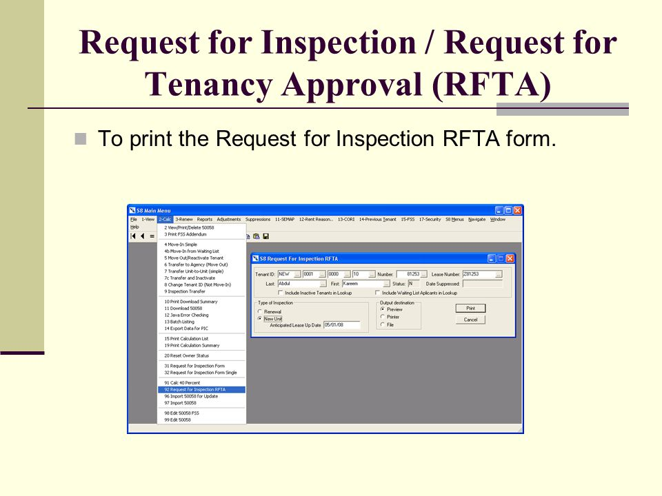 Request for Inspection / Request for Tenancy Approval (RFTA)