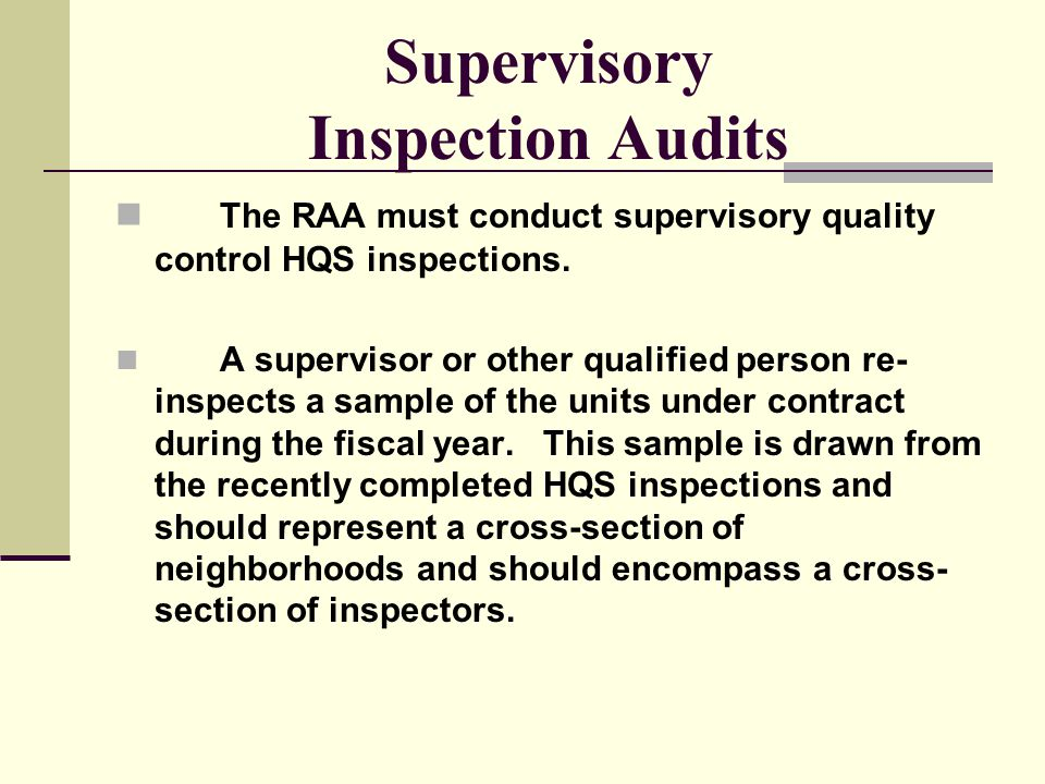 Supervisory Inspection Audits