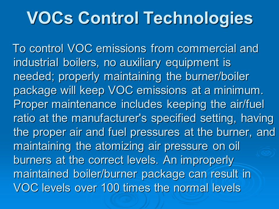VOCs Control Technologies