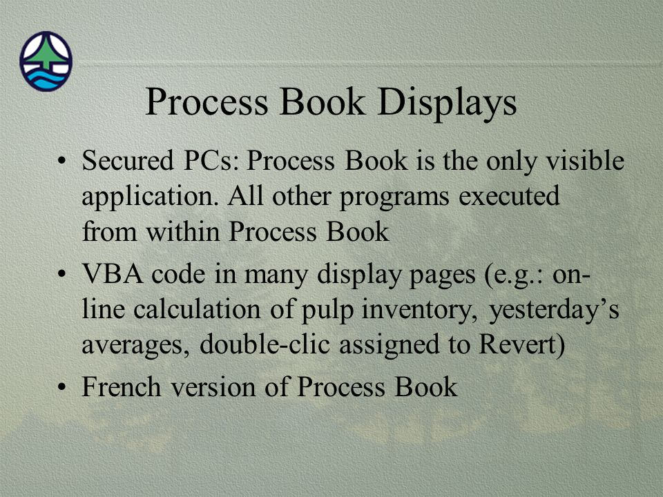 Process Book Displays Secured PCs: Process Book is the only visible application. All other programs executed from within Process Book.