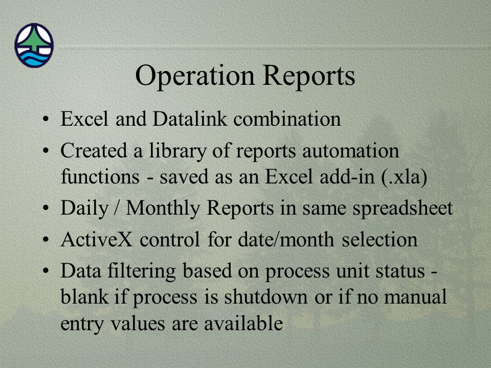 Operation Reports Excel and Datalink combination