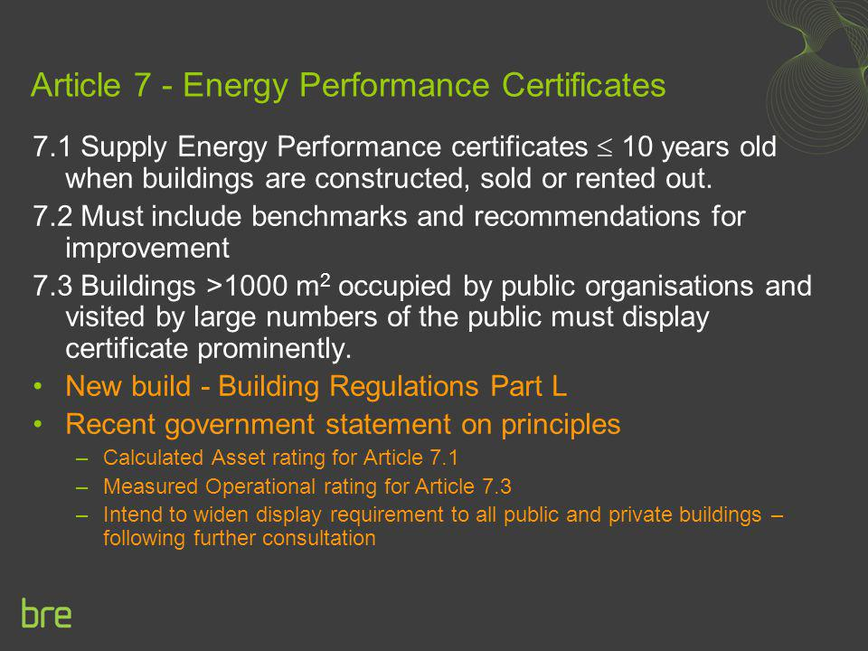Article 7 - Energy Performance Certificates