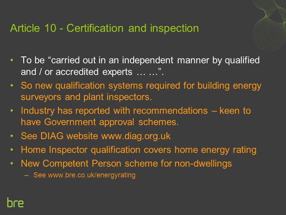 Article 10 - Certification and inspection