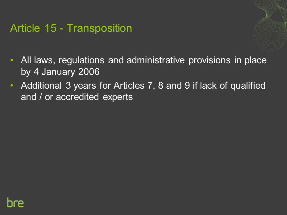 Article 15 - Transposition