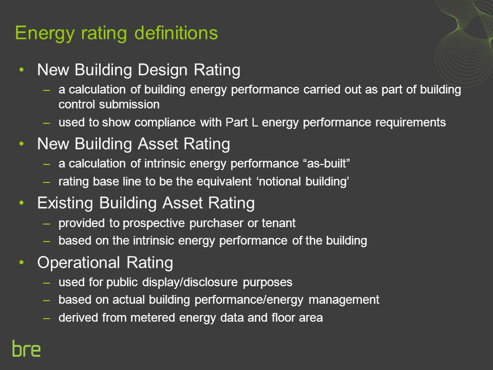 Energy rating definitions