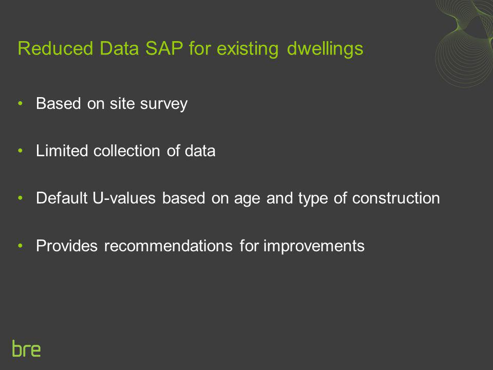 Reduced Data SAP for existing dwellings