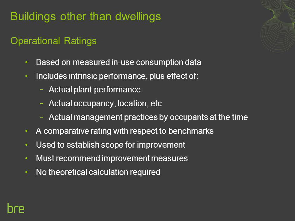 Buildings other than dwellings Operational Ratings