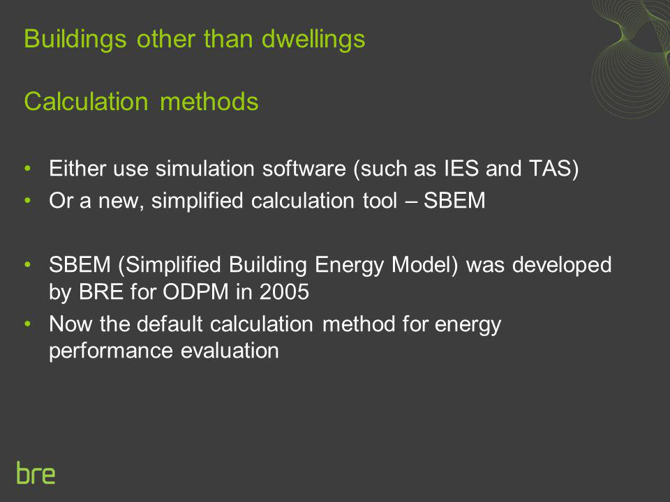 Buildings other than dwellings Calculation methods
