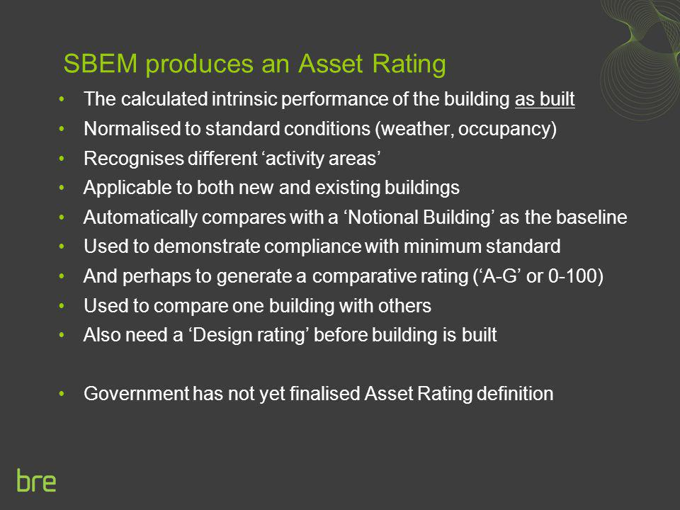SBEM produces an Asset Rating
