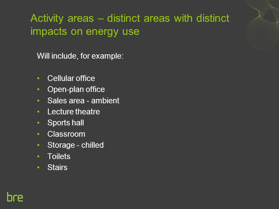 Activity areas – distinct areas with distinct impacts on energy use