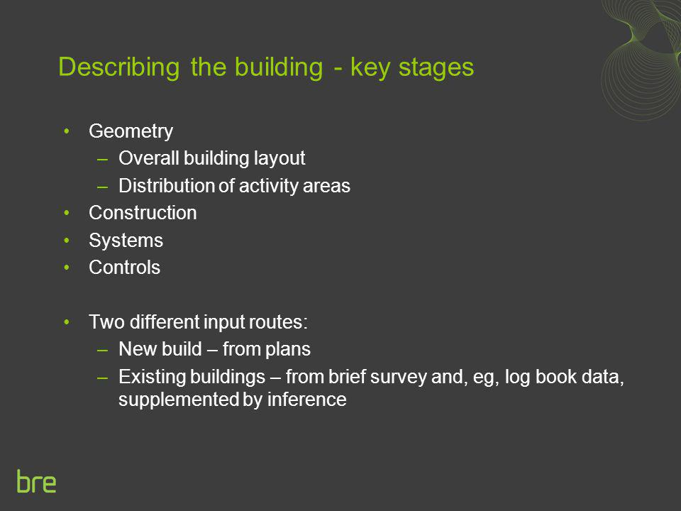 Describing the building - key stages