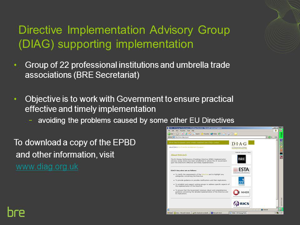 Directive Implementation Advisory Group (DIAG) supporting implementation