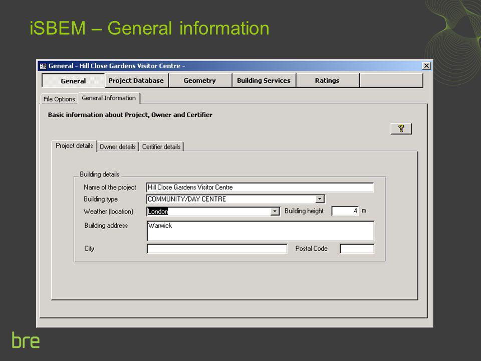 iSBEM – General information