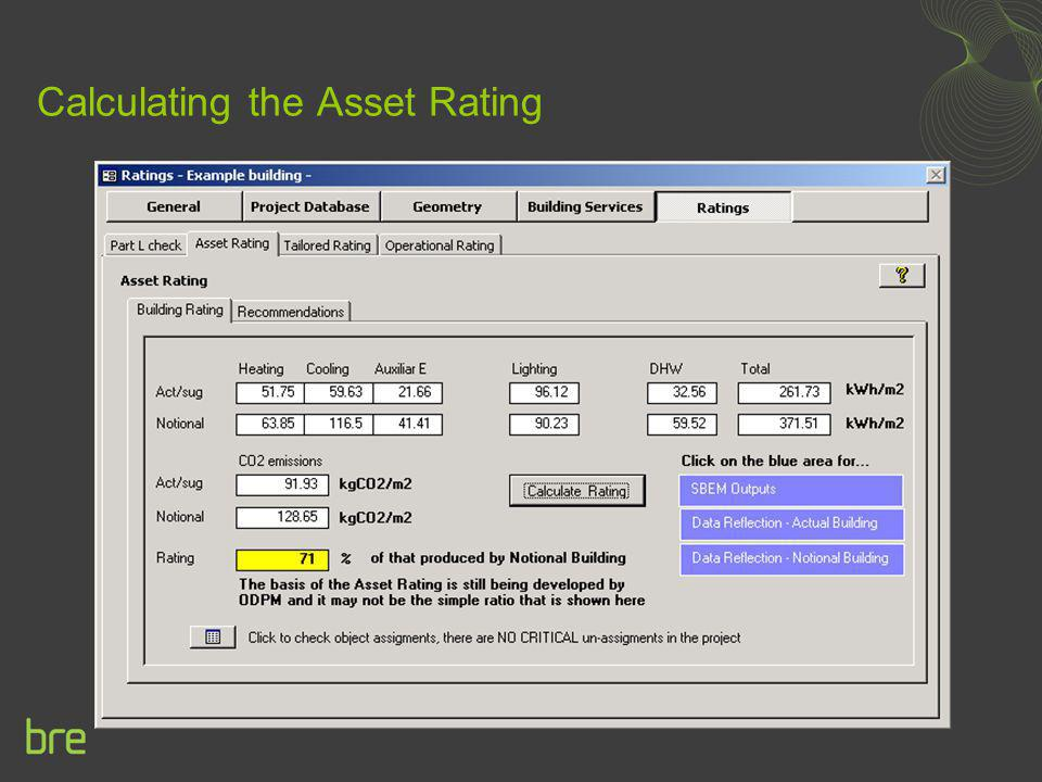 Calculating the Asset Rating