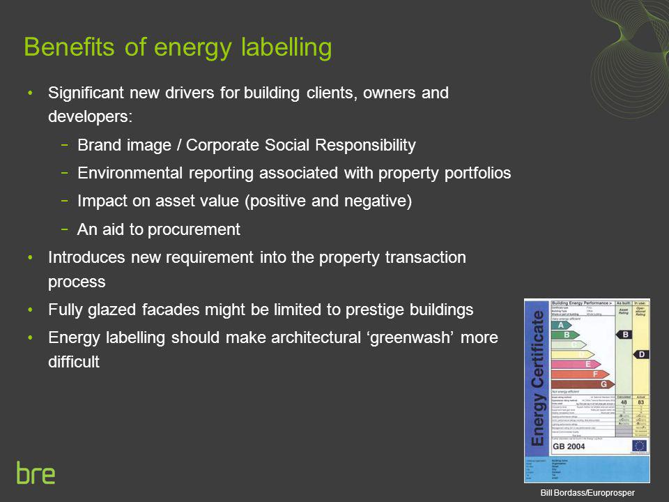 Benefits of energy labelling