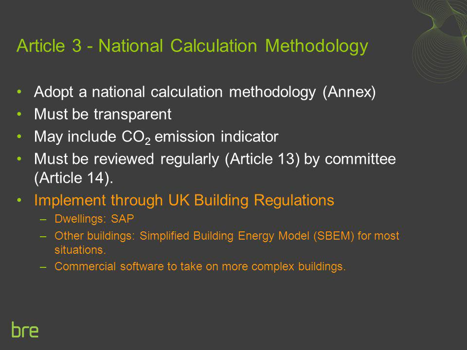 Article 3 - National Calculation Methodology