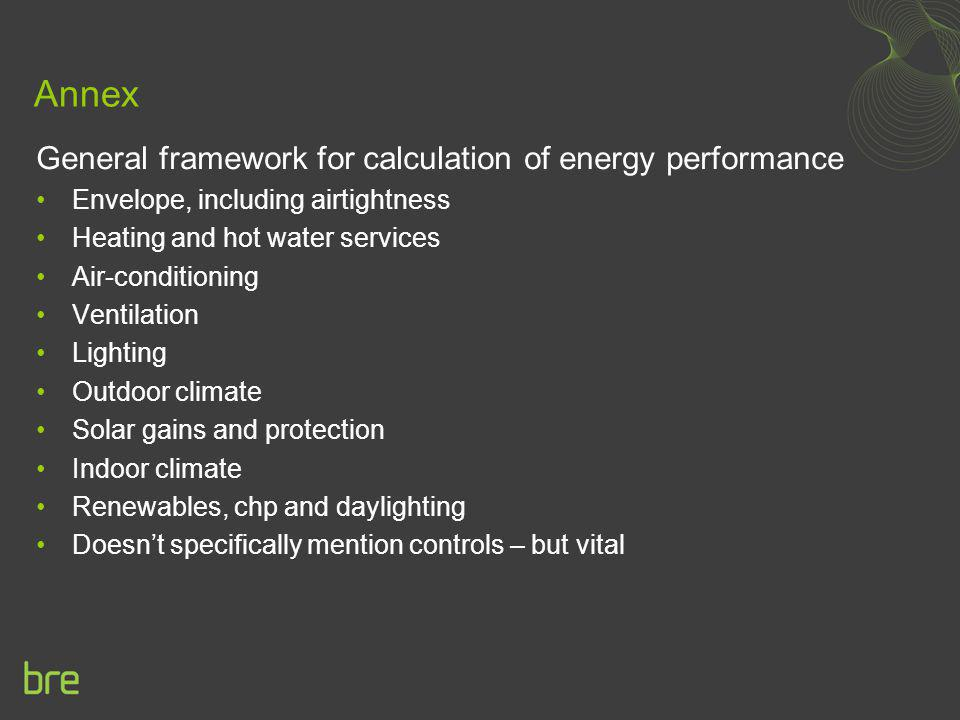 Annex General framework for calculation of energy performance