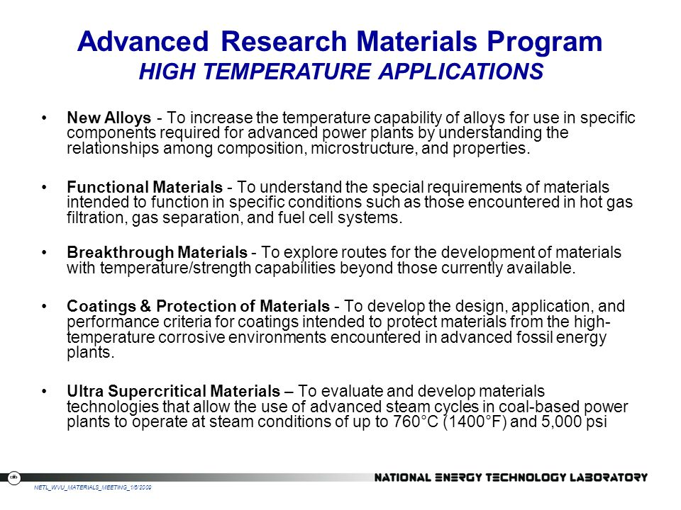 Advanced Research Materials Program HIGH TEMPERATURE APPLICATIONS