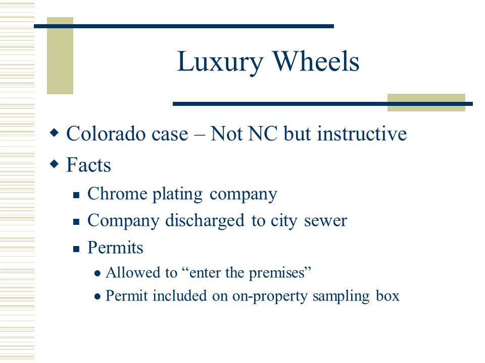 Luxury Wheels Colorado case – Not NC but instructive Facts