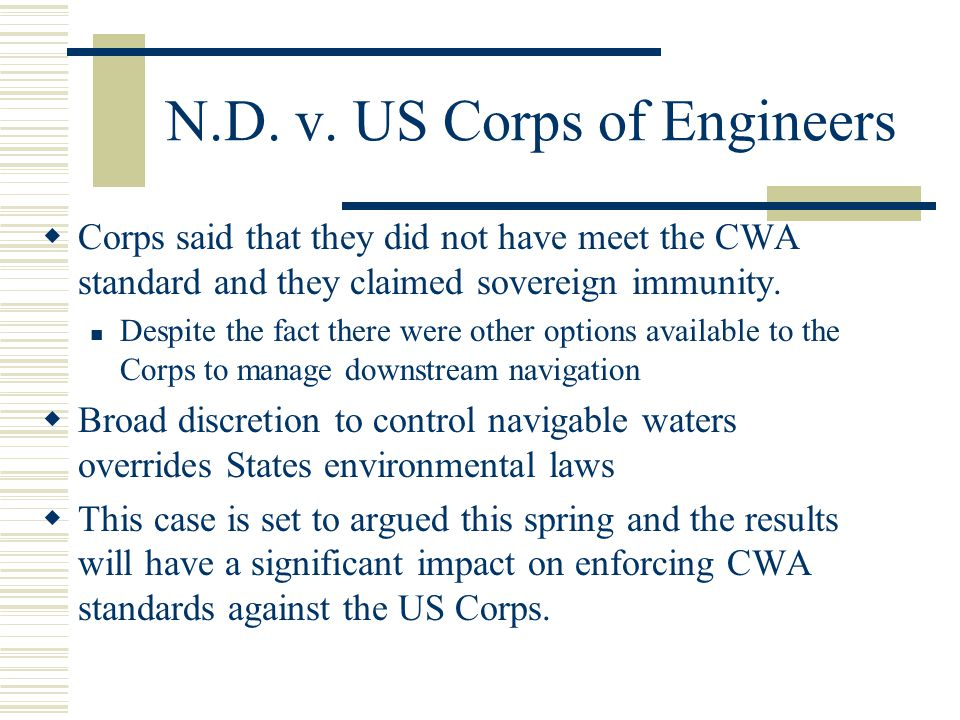 N.D. v. US Corps of Engineers