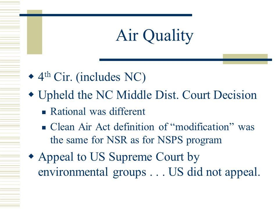 Air Quality 4th Cir. (includes NC)