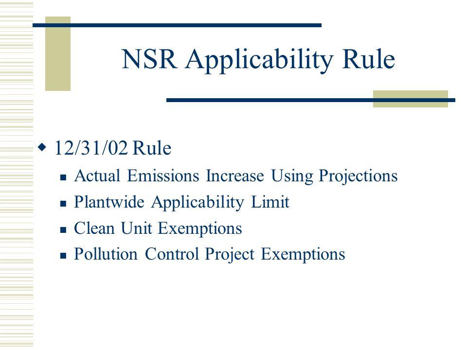NSR Applicability Rule
