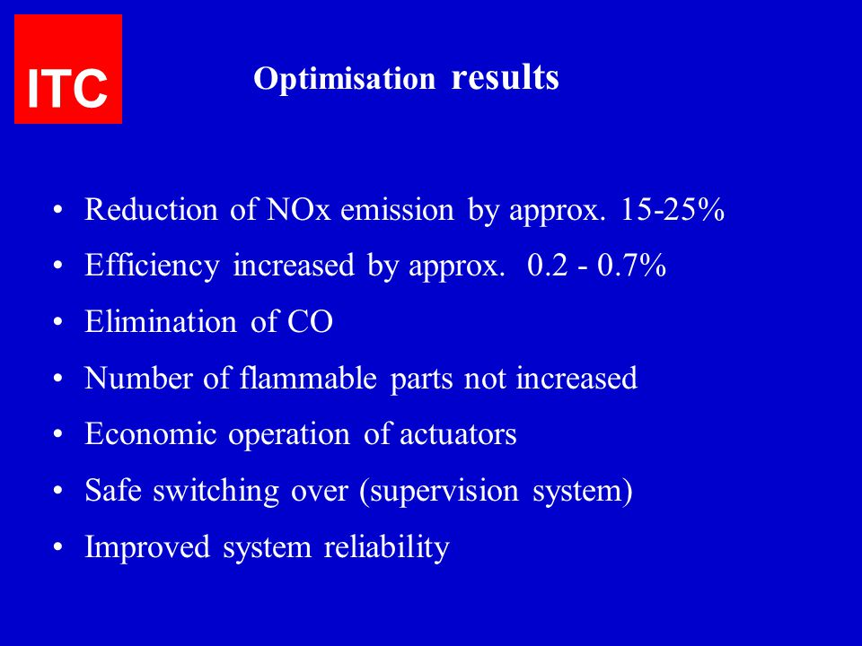 ITC Optimisation results Reduction of NOx emission by approx. 15-25%