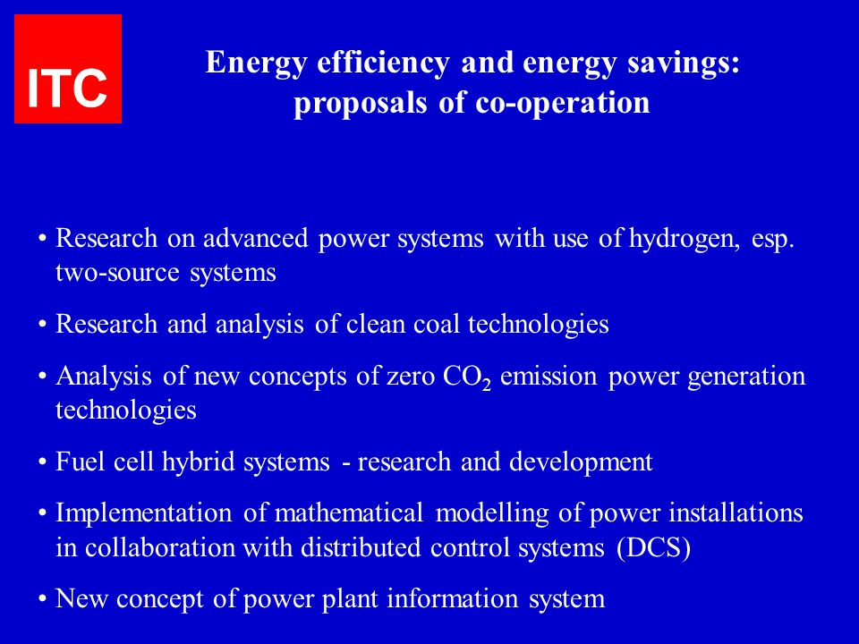 Energy efficiency and energy savings: proposals of co-operation