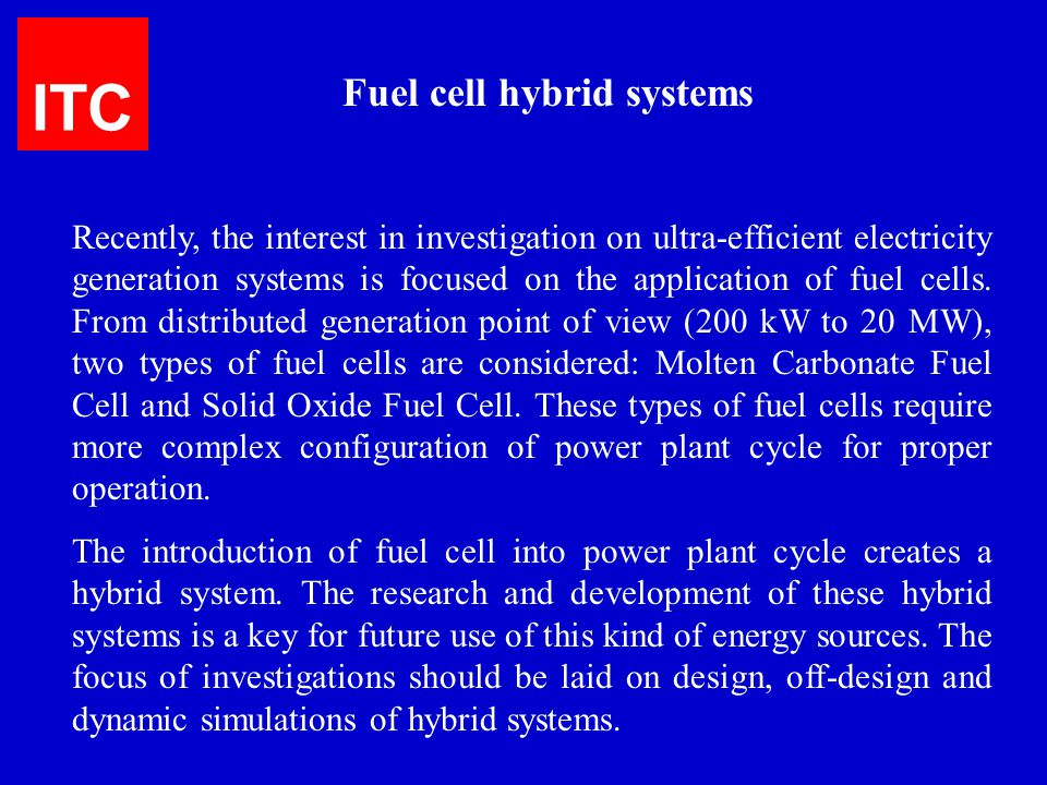 ITC Fuel cell hybrid systems