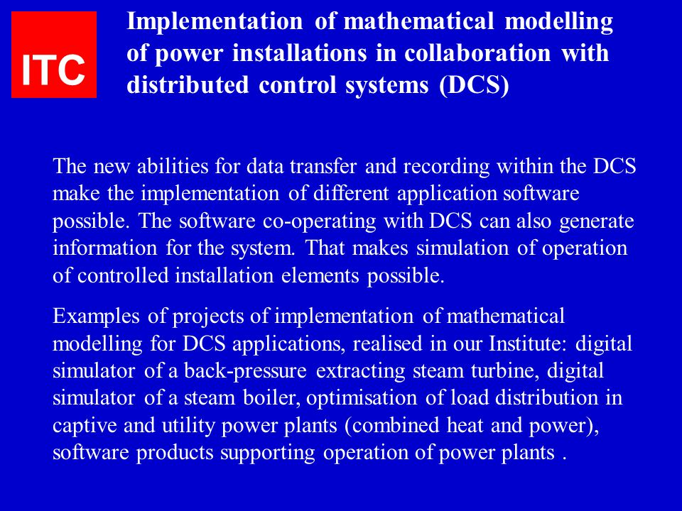 Implementation of mathematical modelling of power installations in collaboration with distributed control systems (DCS)