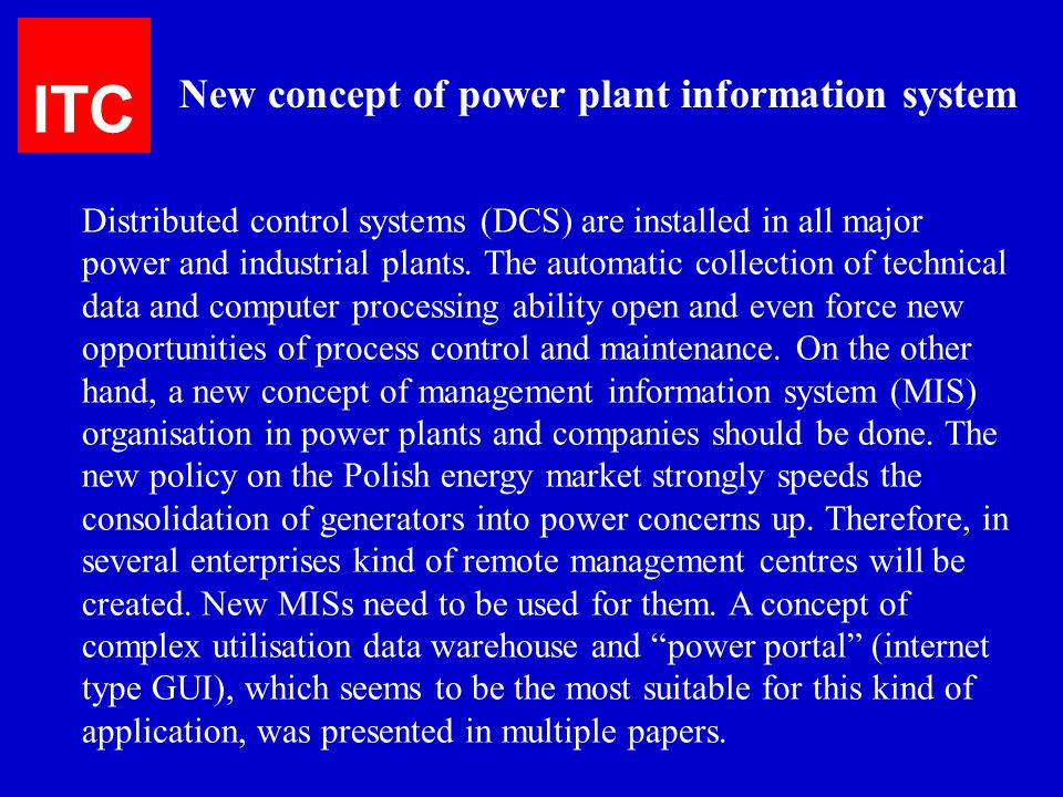 ITC New concept of power plant information system