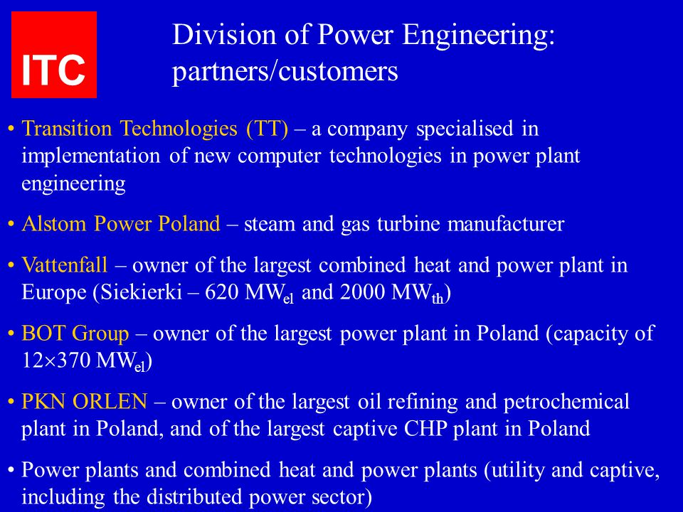 ITC Division of Power Engineering: partners/customers